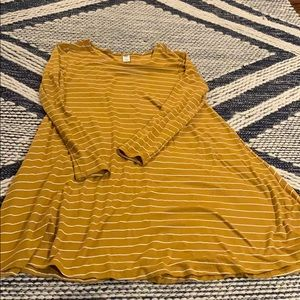 Old Navy Mustard Striped Swing Dress